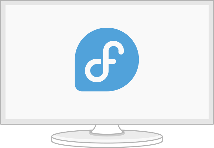 monitor with Fedora logo